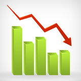 Busines down shiny chart width negative arrow. Vector illustration.  from background Stock Photo