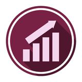 Busines finance graph icon with long shadow. Vector icon Stock Photos