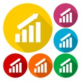 Busines finance graph icons set with long shadow. Icon Stock Photos