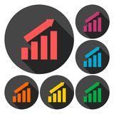 Busines finance graph icons set with long shadow. Vector icon Stock Photos