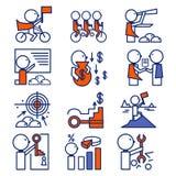 Busines icons set:leader,team,achievement, solution Stock Photography