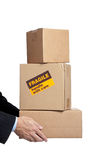 Busines man's hands holding box with copy space Royalty Free Stock Images