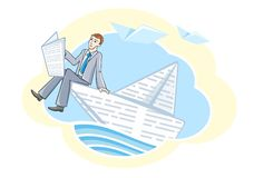 Busines man sitting in boat and sailing on river Royalty Free Stock Photos