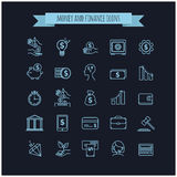 busines, money and finance thin line icon set on a black. Background for your design Royalty Free Stock Photography