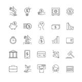 Busines, money and finance vector thin line icon set Royalty Free Stock Photos