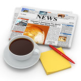 Busines morning concept. Coffee cup,  newspaper and reminder Stock Photography