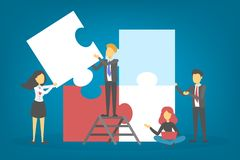 Busines people hold puzzle piece. Teamwork and partnership stock illustration