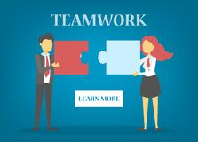Busines people hold puzzle piece. Teamwork and partnership vector illustration