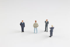Busines people on stage with white board Royalty Free Stock Image