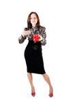 Busines som är swoman med en kopp av kaffe Royaltyfri Bild