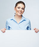 Busines woman blanc white banner, card isolated studio portrait stock image