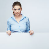 Busines woman blanc white banner, card  studio portrait Stock Photo