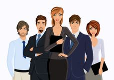 Busines woman with business team Stock Photos