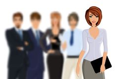 Busines woman with business team Stock Images