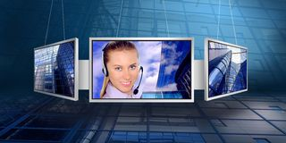 Busines woman in monitor. Monitors with business architecture background stock photography