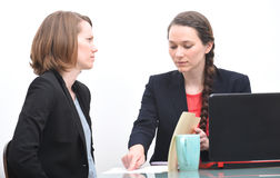 Busines woman upset with her boss Stock Images