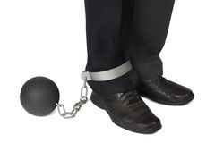 Businesman with ball and chain Stock Photography