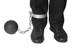 Businesman with ball and chain Royalty Free Stock Photos