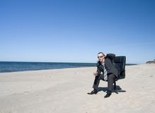 Businesman on Beach Royalty Free Stock Image