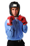 Businesman With Boxing Gloves Royalty Free Stock Image