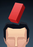 Businesman businessperson crossed by stress a red brick Royalty Free Stock Image