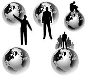 Businesman Erde-globale Konzepte vektor abbildung