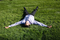 Businesman on green grass royalty free stock photo