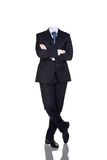 Businesman without head. Isolated on white. Crossed hands Stock Photo