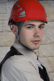 Businesman with helmet Stock Photos