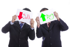 Businesman hold paper for show Sell and buy stock Stock Images