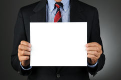 Businesman Holding Blank Sign Stock Images