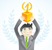 Businesman holding cup - leadership concept Royalty Free Stock Photography