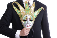 Businesman holding white mask Royalty Free Stock Photo