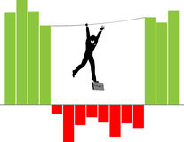 Businesman on info graphics. Silhouette of Businessman Climbing on Rope over Infographics Columns - Conceptual for economy crisis Royalty Free Stock Photos