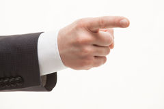 Businesman's hand. Indicating something, white background Royalty Free Stock Photos