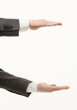Businesman's palms showing large size Royalty Free Stock Photos