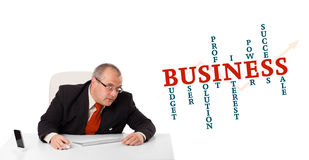 Businesman sitting at desk with business word cloud. Isolated on white Stock Images