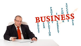 Businesman sitting at desk. And holding a mobilephone with business word cloud, isolated on white Stock Image