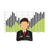 Businesman with statistics  isolated icon design Royalty Free Stock Photography
