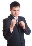 Businesman with two fists Stock Photos