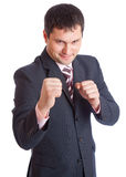 Businesman with two fists Stock Images