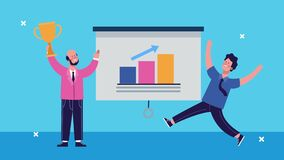 Businesmen with trophy and statistics bars characters animated