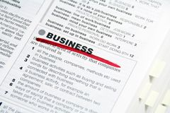 Business. Word Business dictionary definition marked by red Stock Photography