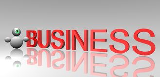 Business. A small 3d robot and Business Stock Image