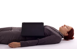 Business. Young woman lies asleep on the floor Stock Photography