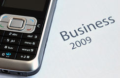 Business 2009. Mobile on a calender for year 2009 Royalty Free Stock Photos