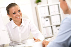 Business. Management team discusses  proj office work two Royalty Free Stock Photo