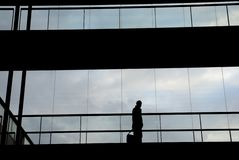 Business. Young business man in the office building; silhouette Stock Photos