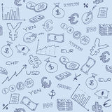 Business. Seamless pattern with money, business and financial icon sand symbols. Business background doodle Stock Photos