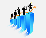 Business. Illustration of business people and graph Royalty Free Stock Image